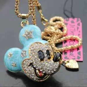 Mickey Mouse  blue gold Betsey Johnson Necklace